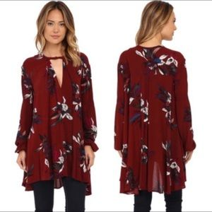 FREE PEOPLE | Tree Swing Tunic in Crimson Sz. L